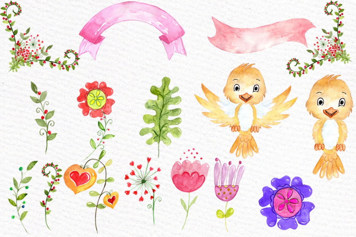 Watercolor kids floral clipart example image 3