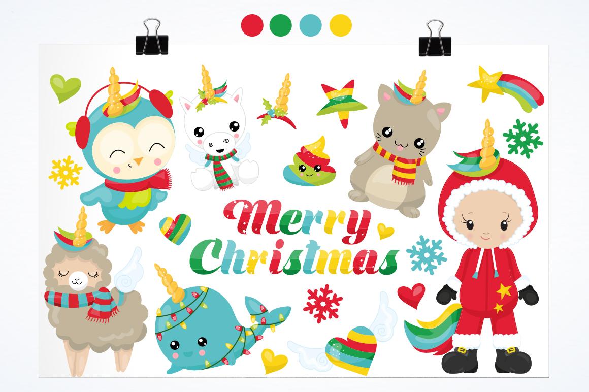 Christmas Wannabe Unicorns graphics and illustrations example image 2