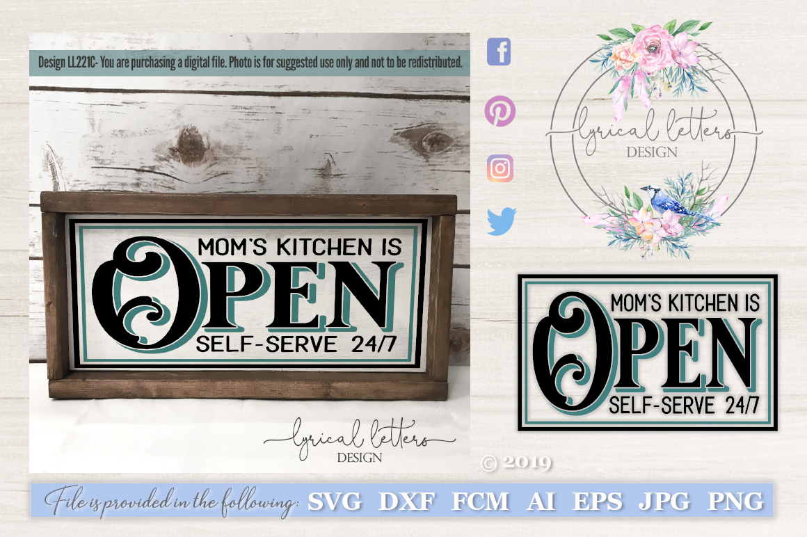 Moms Kitchen Is Open Farmhouse SVG Cut File LL221C example image 1