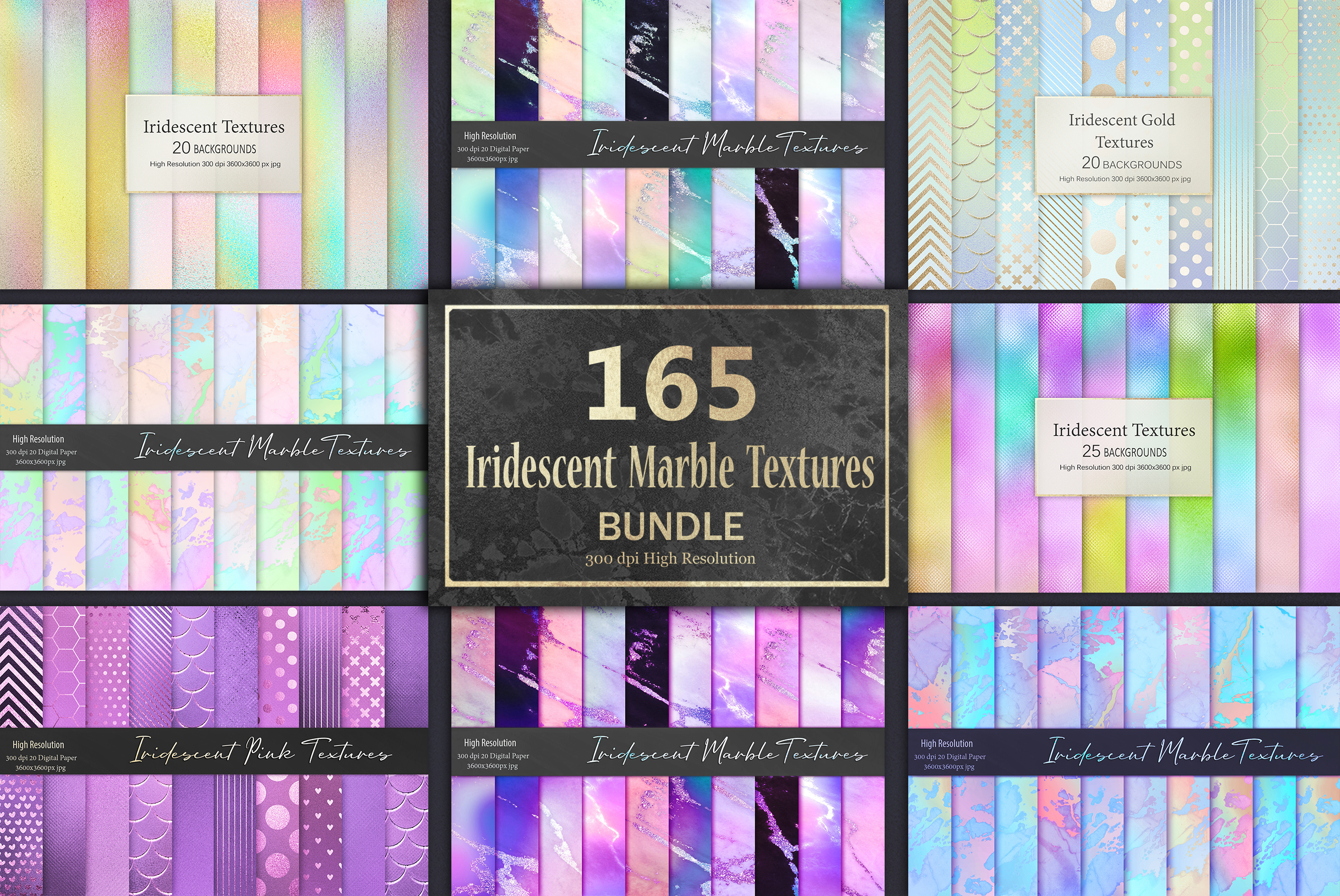 Iridescent Marble Textures BUNDLE example image 1