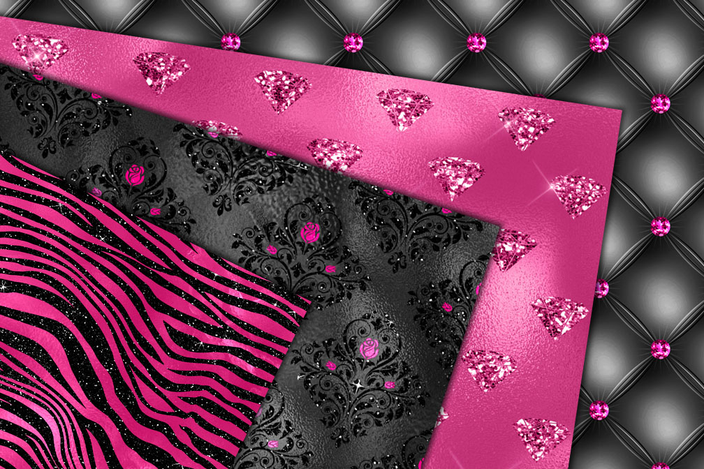 Bright Pink and Black Glam Textures example image 2