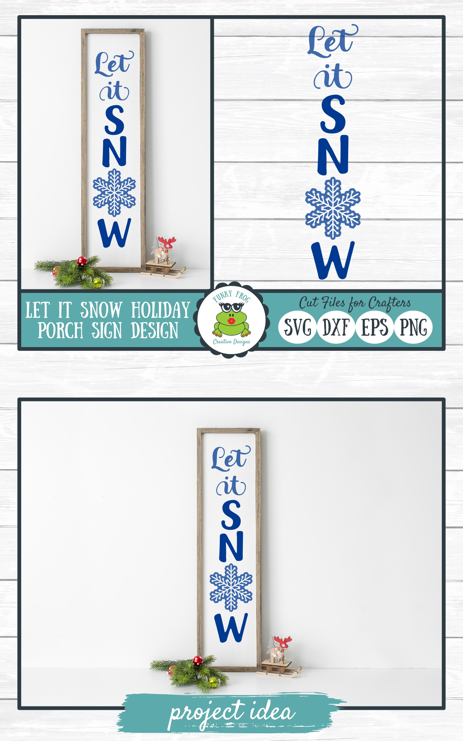 Let It Snow Holiday Porch Sign Design - Christmas SVG example image 4
