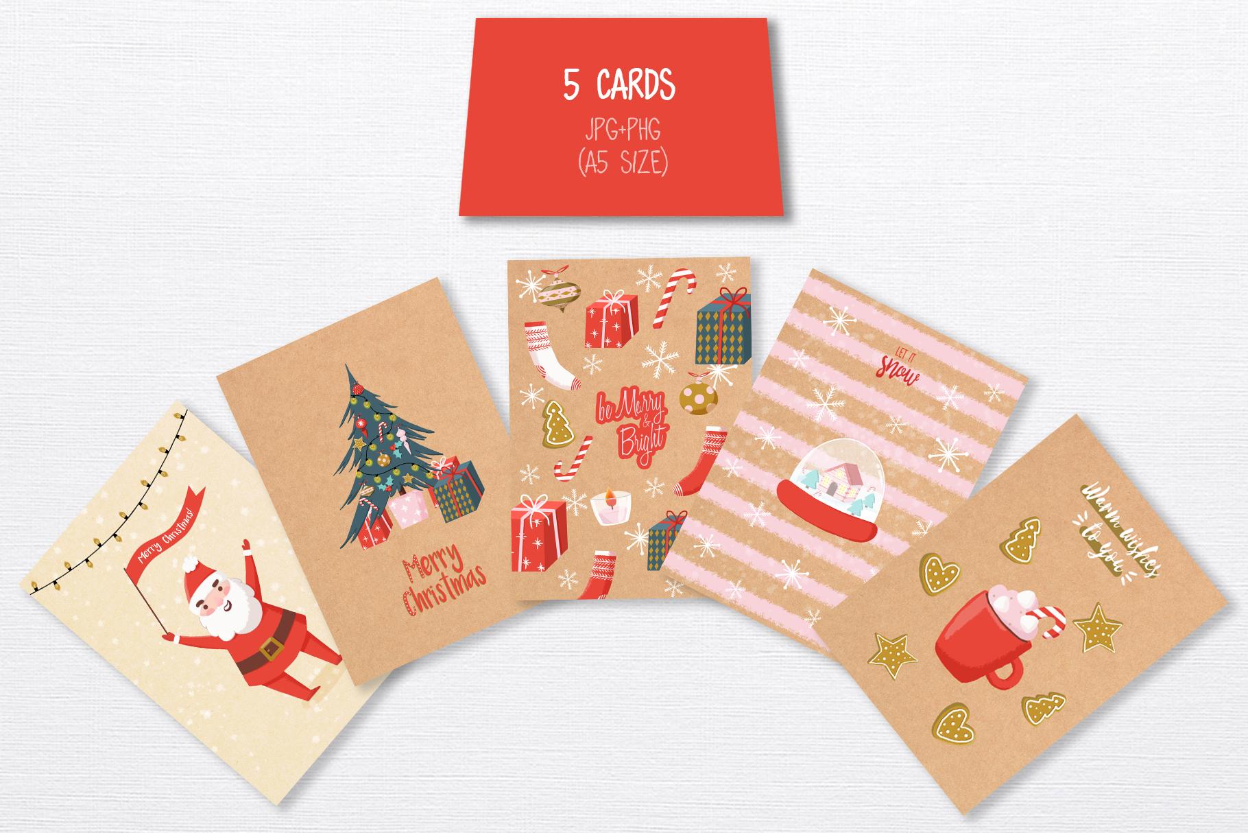 Merry Christmas hand drawn set example image 3
