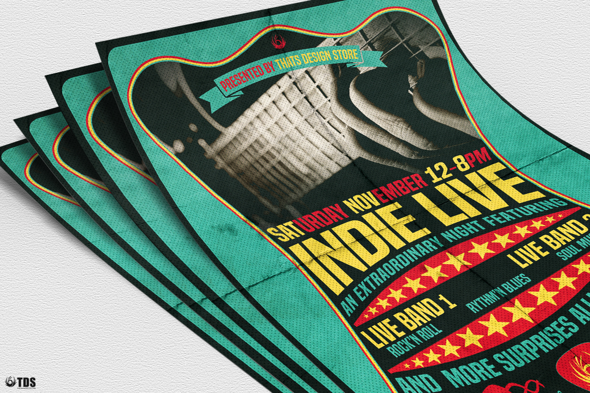 Indie Live Flyer Template example image 5