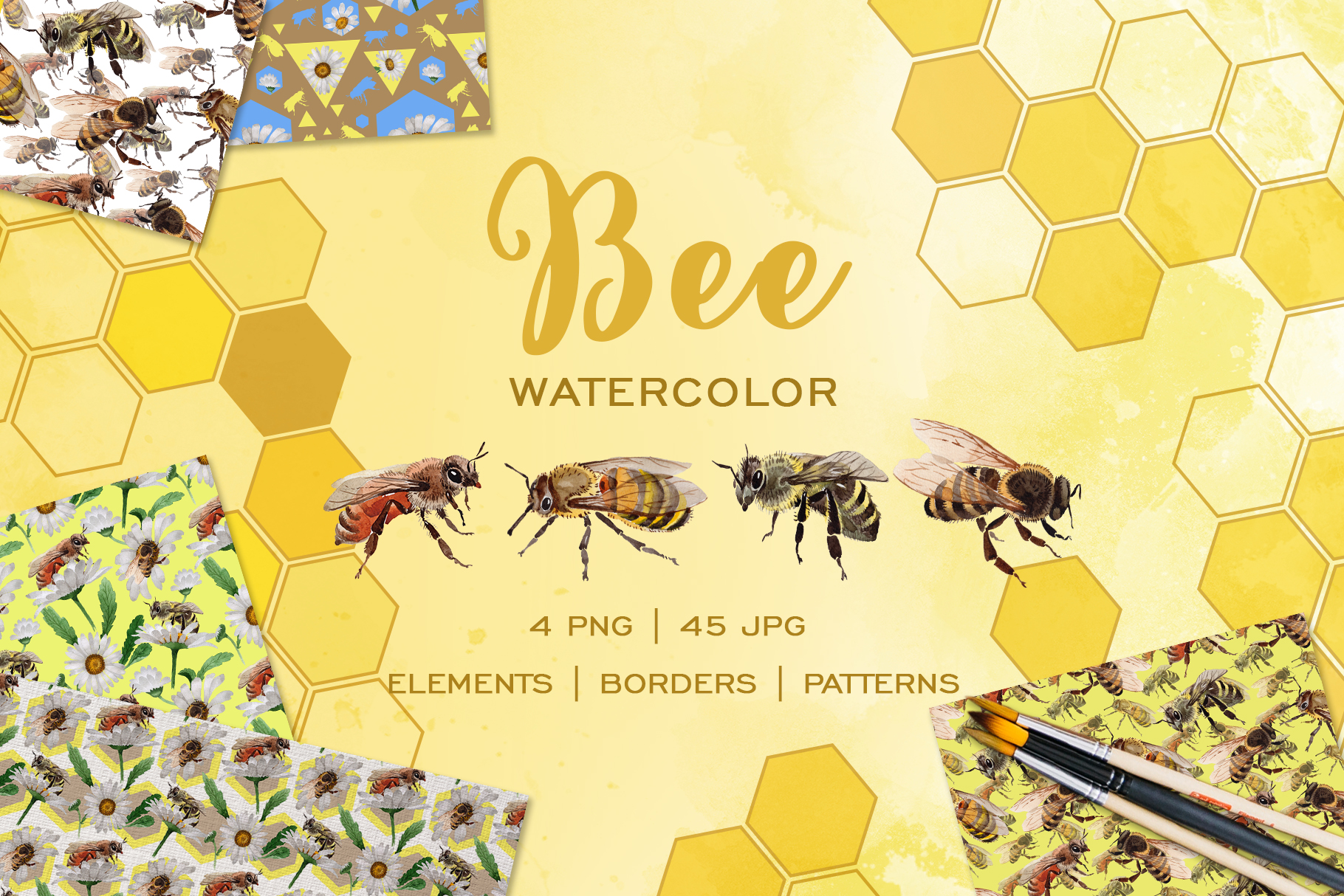Bee Watercolor png example image 1