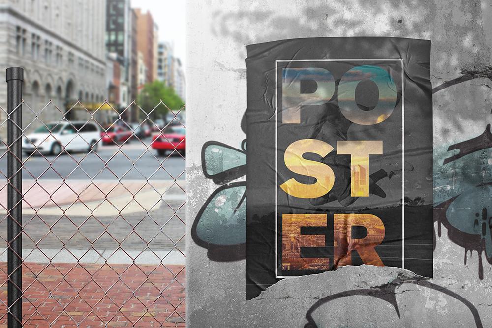 Poster Glued Effect Mockups example image 7