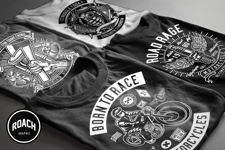 100  Vector Tshirt Designs ( B/W Concept ) example image 2