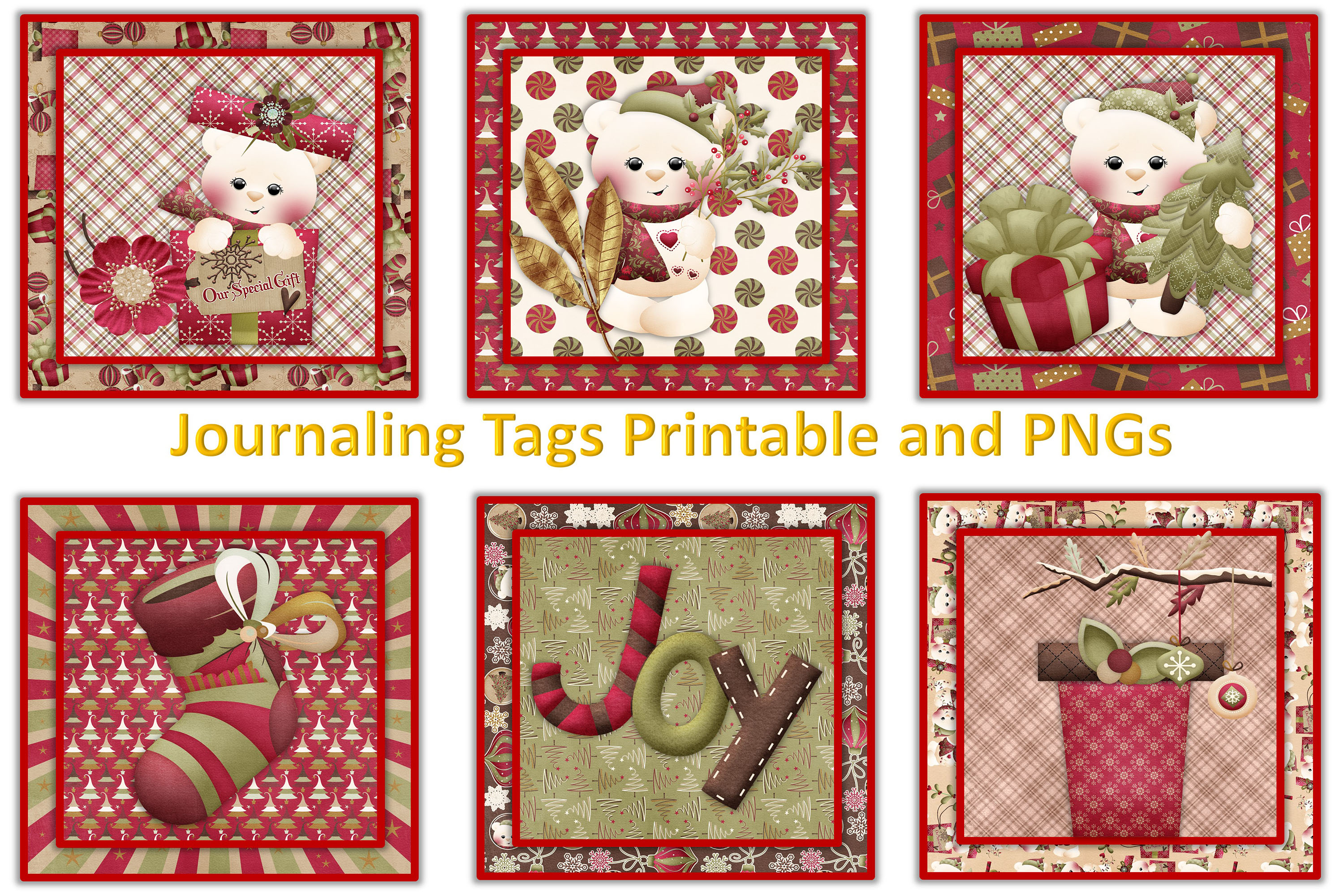 Christmas Journal Kit JPEG, PDF and PNG. Commercial Use example image 5