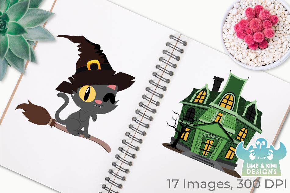 Halloween Cats 2 Clipart, Instant Download Vector Art example image 3