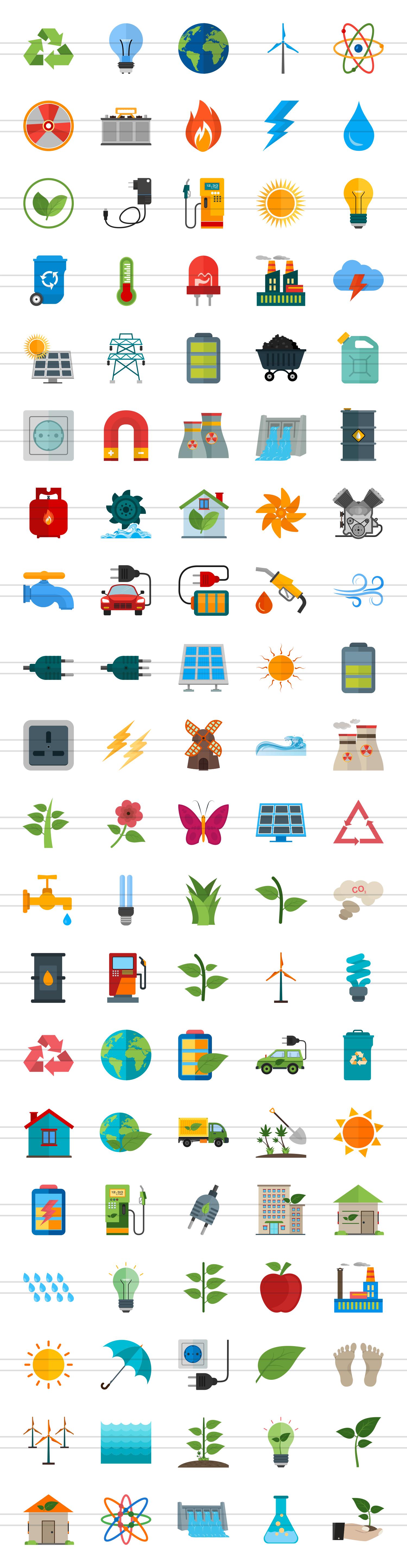 100 Energy Flat Icons example image 2