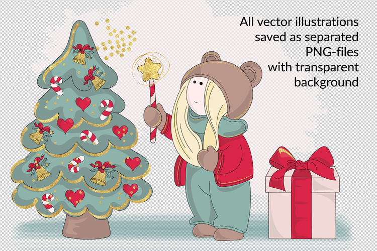 BEST WISHES Christmas Vector Illustration Pattern Animation example image 3
