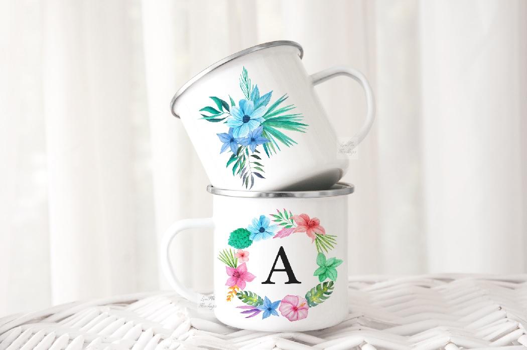 2 Camping mug mockup two cups mock up metal camp enamel mugs example image 2