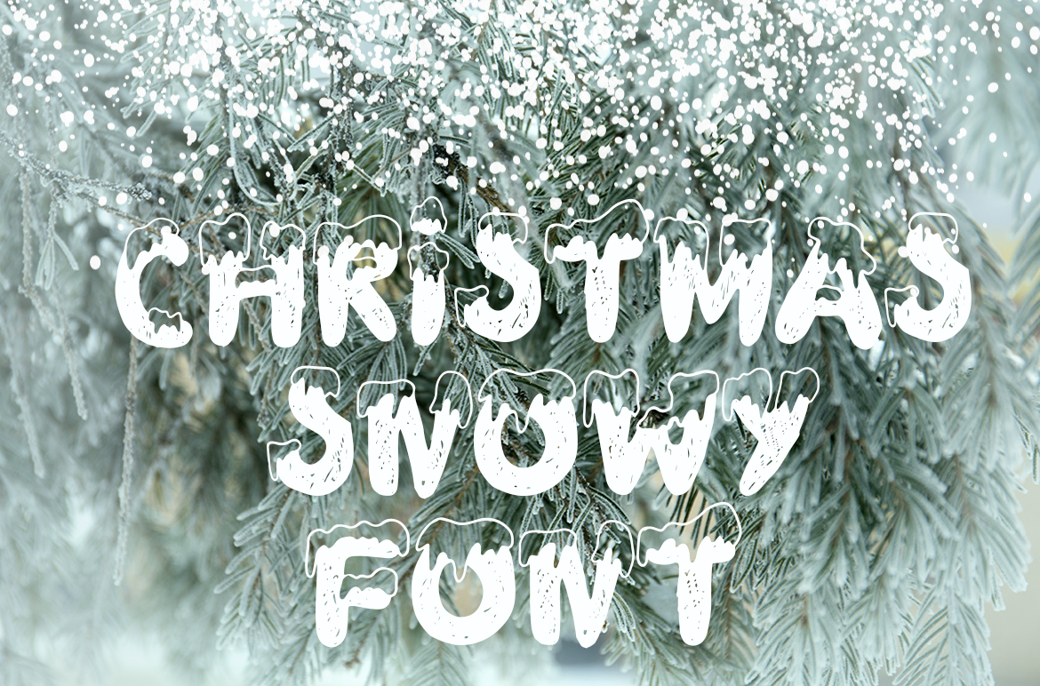 Handdrawn snowy display font example image 2