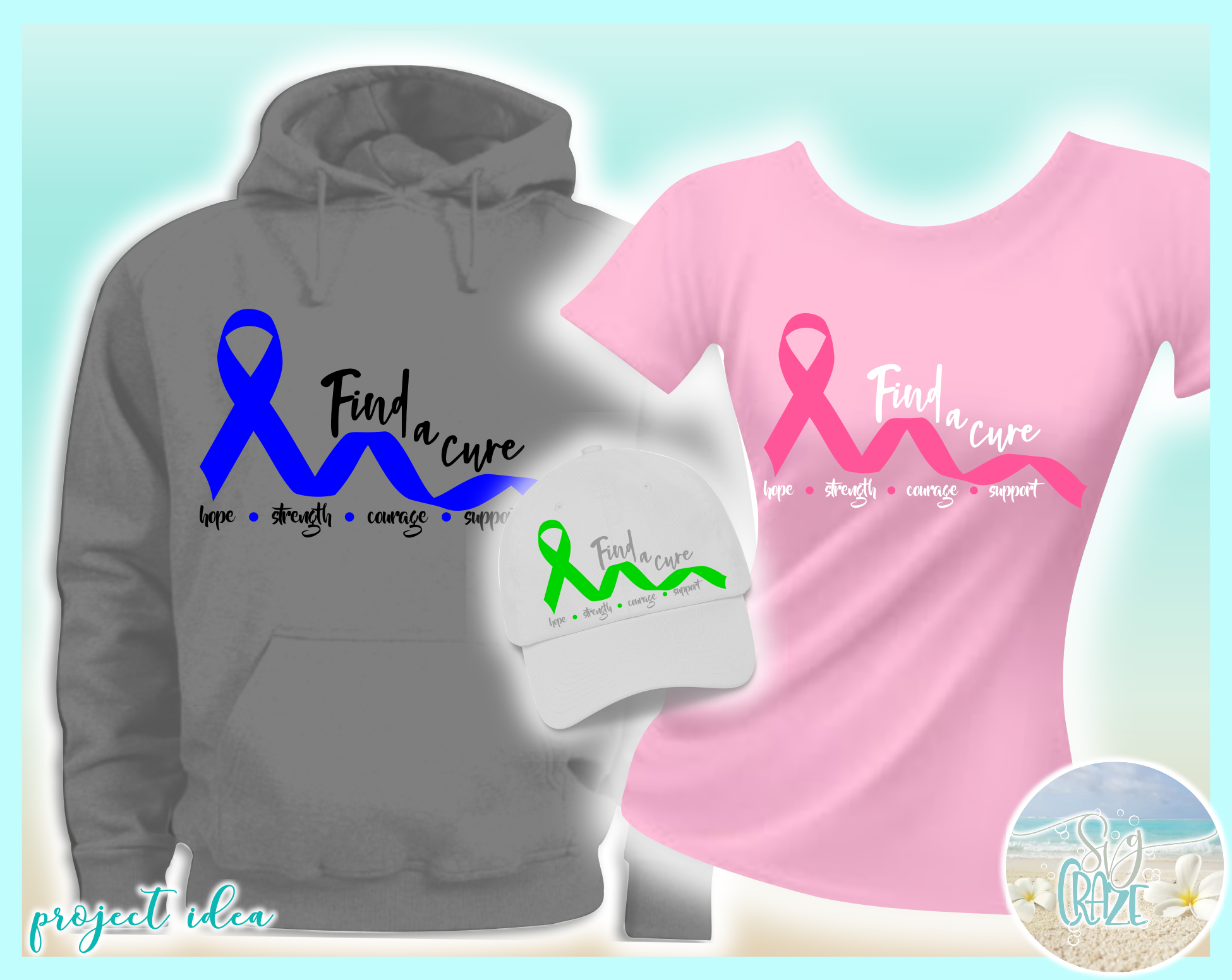 Find A Cure Quote One Color Ribbon SVG Dxf Eps Png PDF Files example image 3