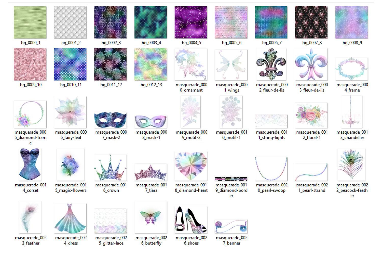 Iridescent Masquerade Digital Scrapbooking Kit example image 3