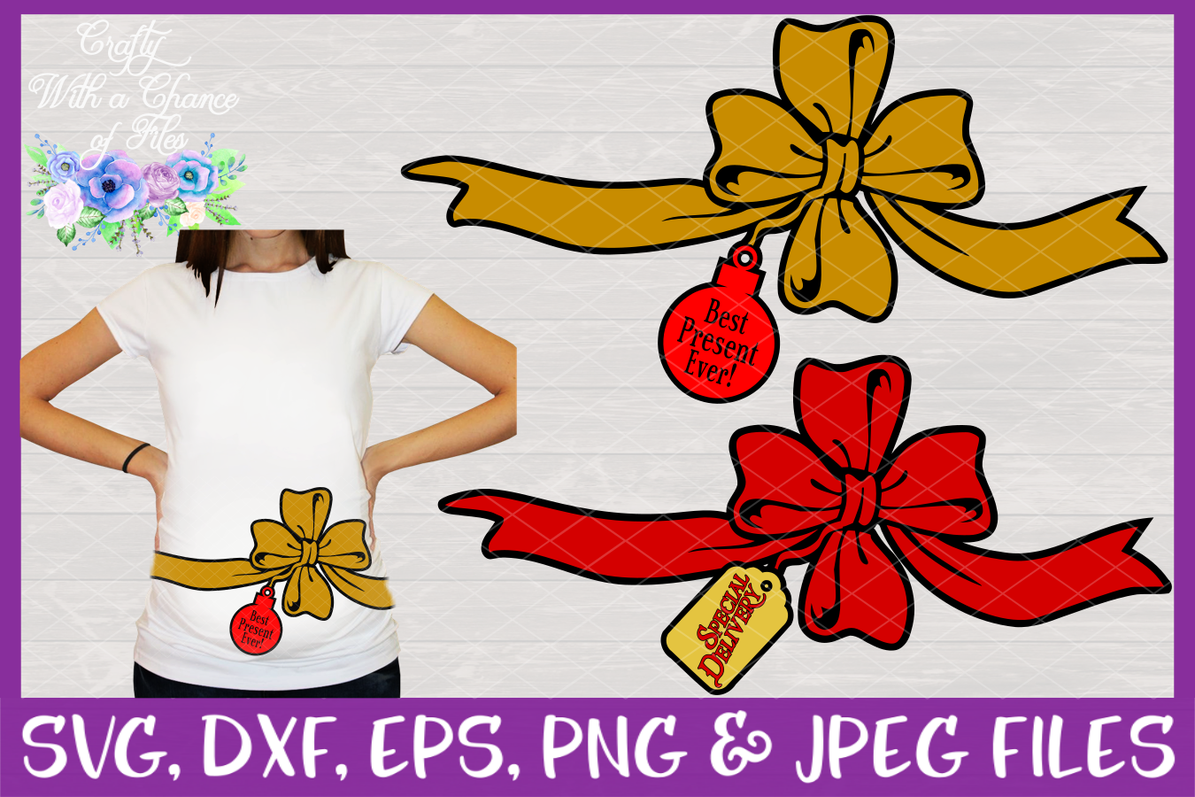 Christmas Pregnancy SVGs - Maternity Designs example image 1