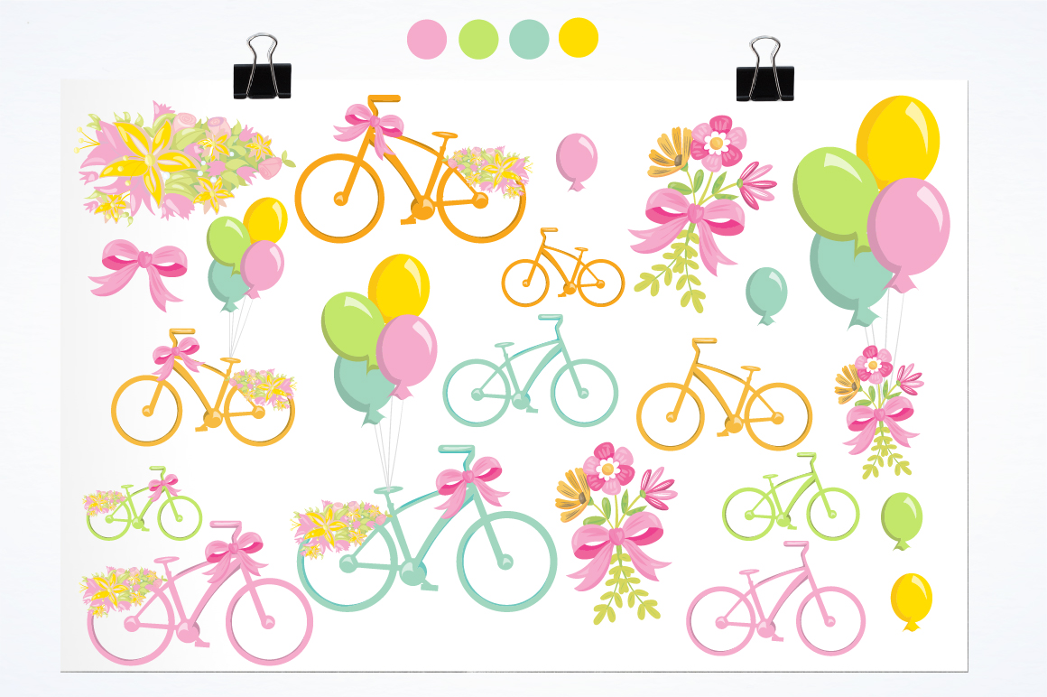 Floral Bicycles graphics and illustrations example image 2
