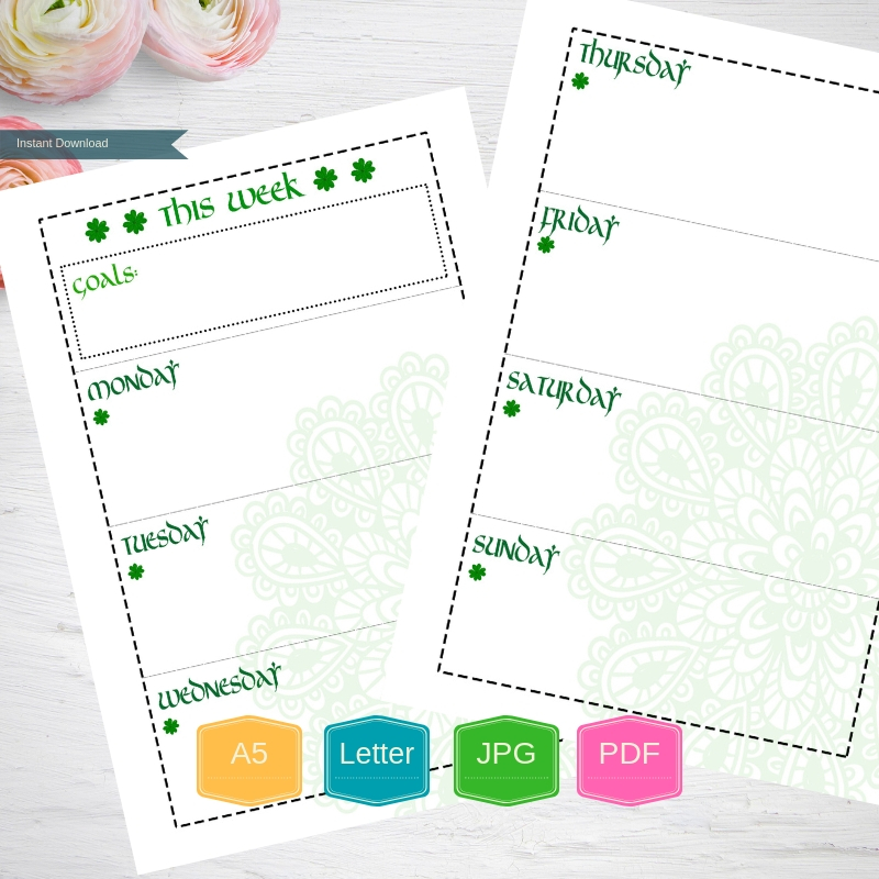 Weekly Planner Printable Weekly pages, Weekly Organizer, A5 example image 2