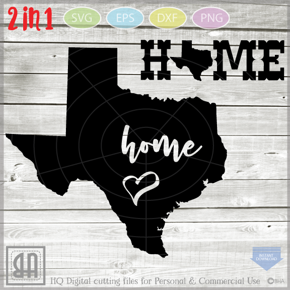 Texas home SVG - Texas digital files - State SVG Files - DIY example image 1