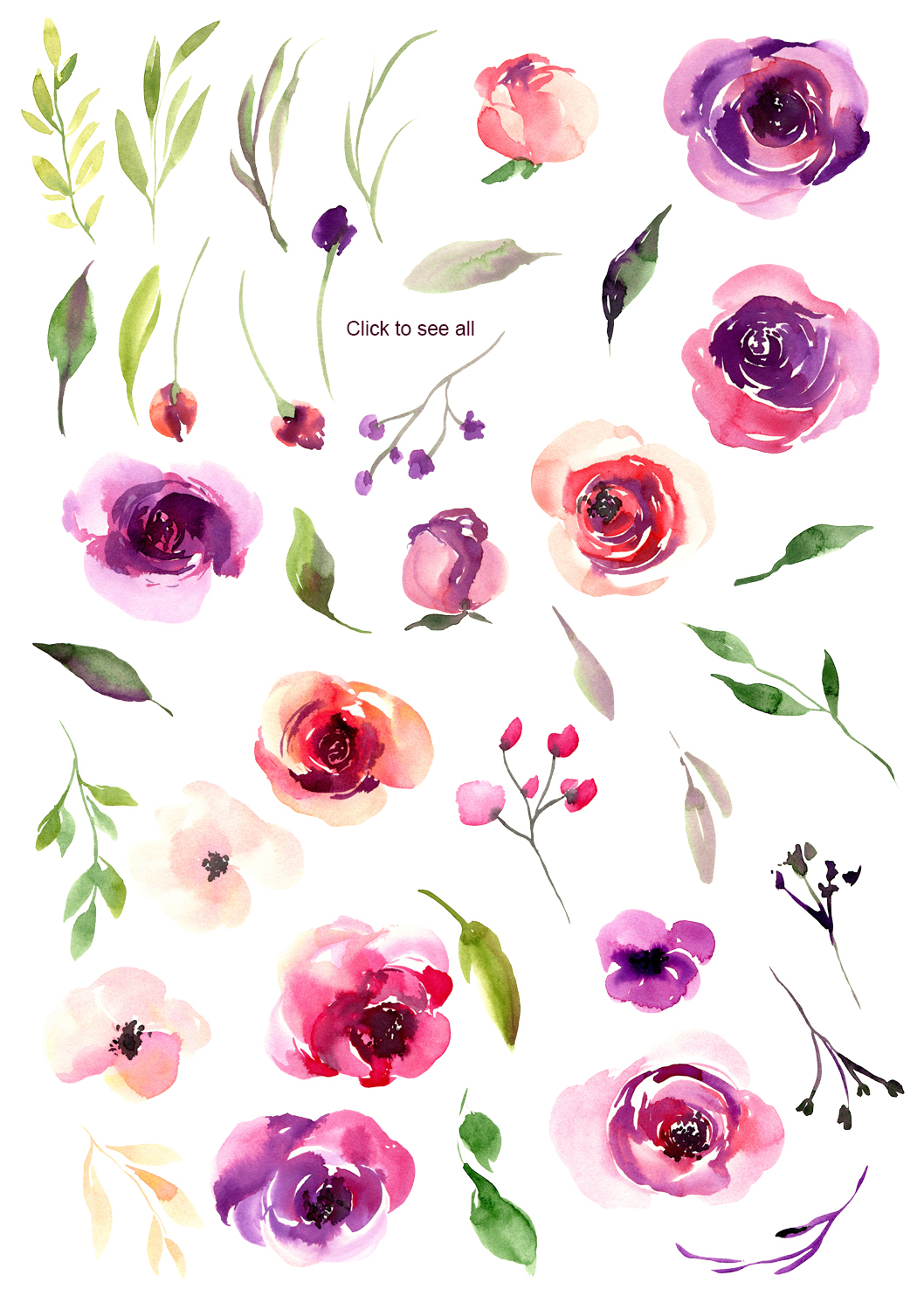 Watercolor Red Violet Flowers PNG example image 2