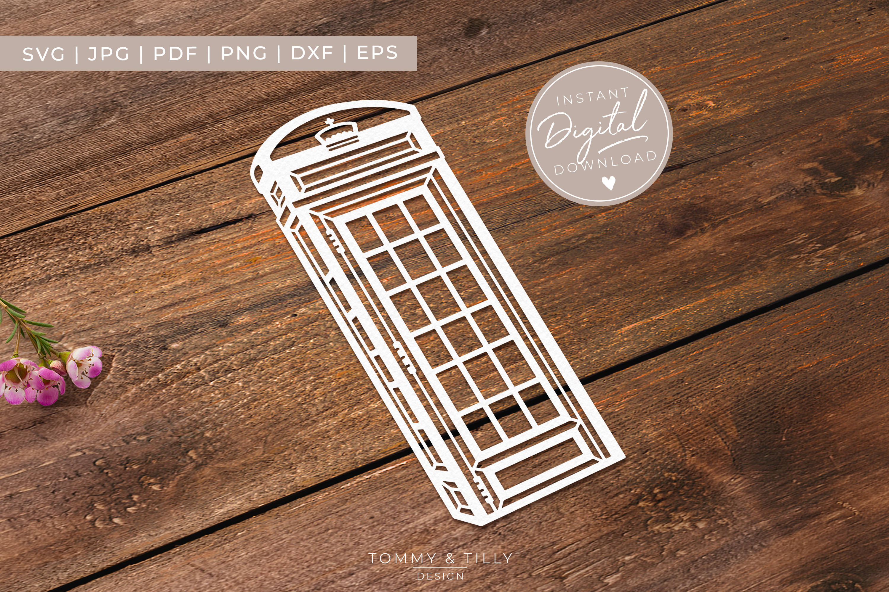 Telephone Box - SVG EPS DXF PNG PDF JPG Cut File example image 7