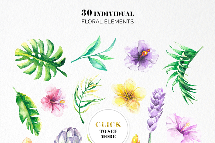 Tropical Floral Watercolor Collection example image 10