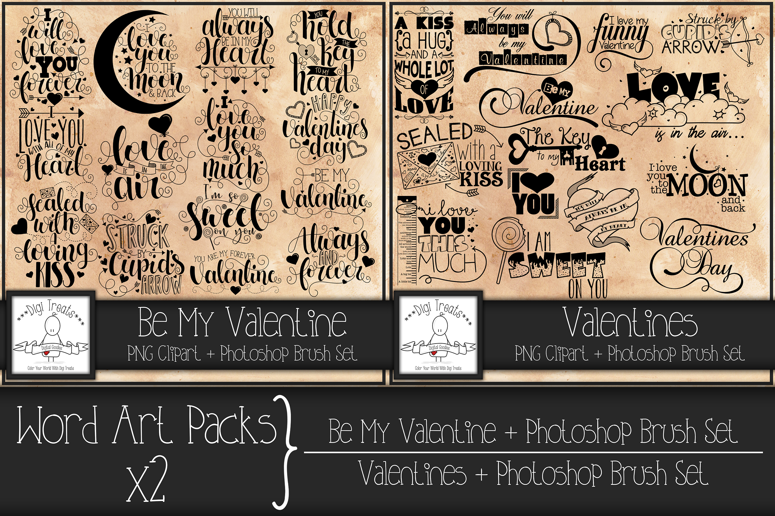 Word Art Packs x 2. Be My Valentine and Valentines example image 1