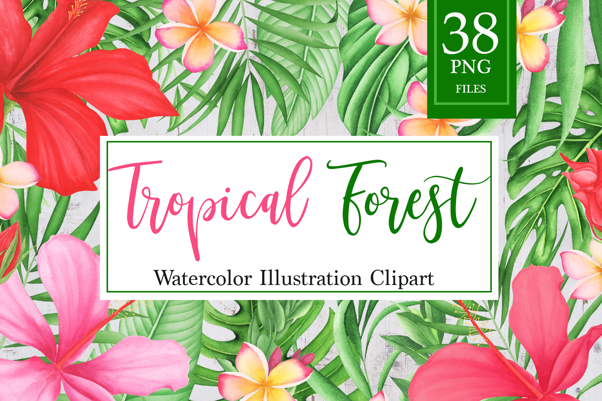 Tropical leaves and flowers clipart example image 1