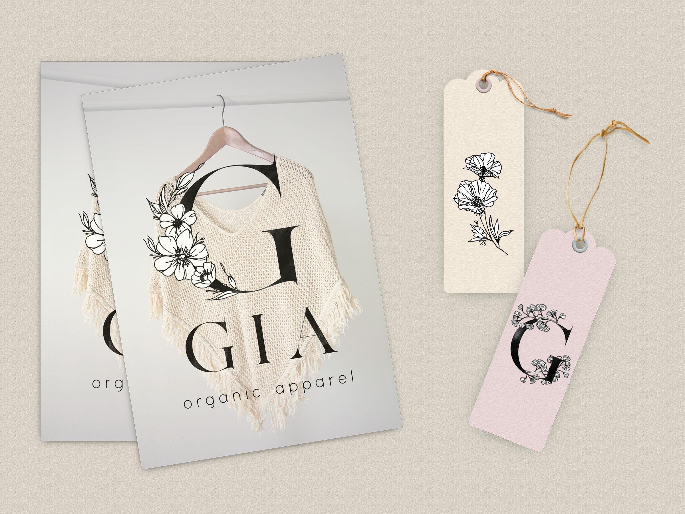 Floral Design Bundle - Monogram Letters Clipart example image 3