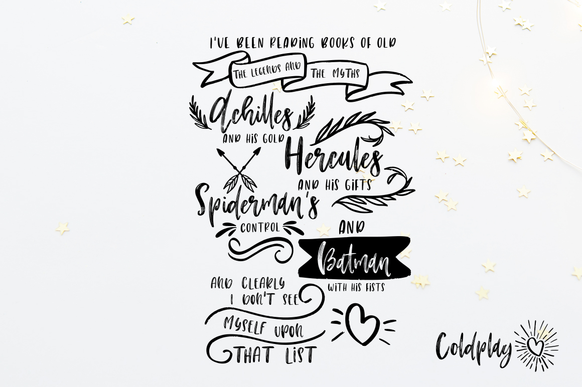 Rock-n-Roll Baby.Textured font trio & doodles example image 14