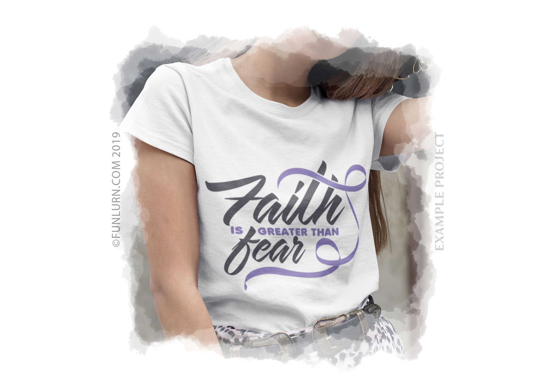 Faith is Greater Than Fear Lilac Ribbon SVG Cut File example image 3