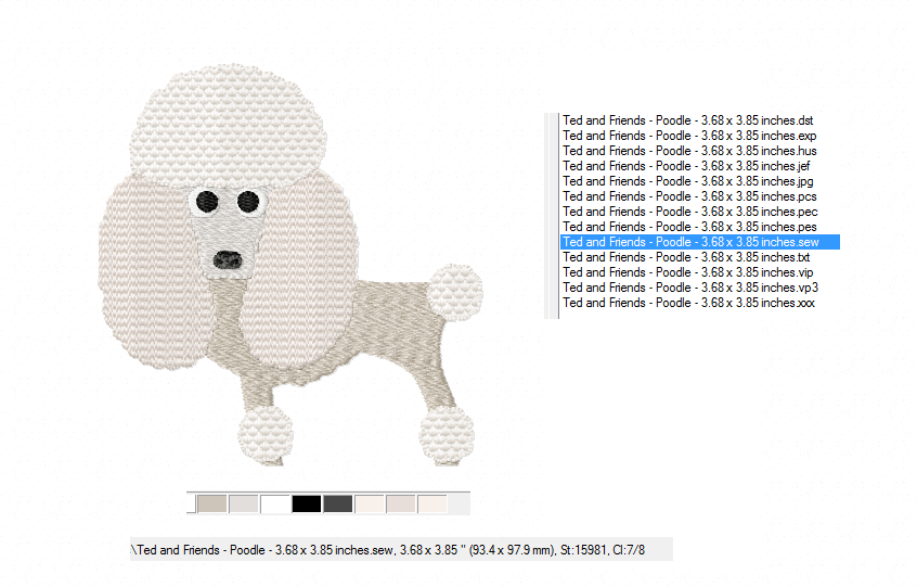 POODLE Embroidery Design in 2 sizes example image 3