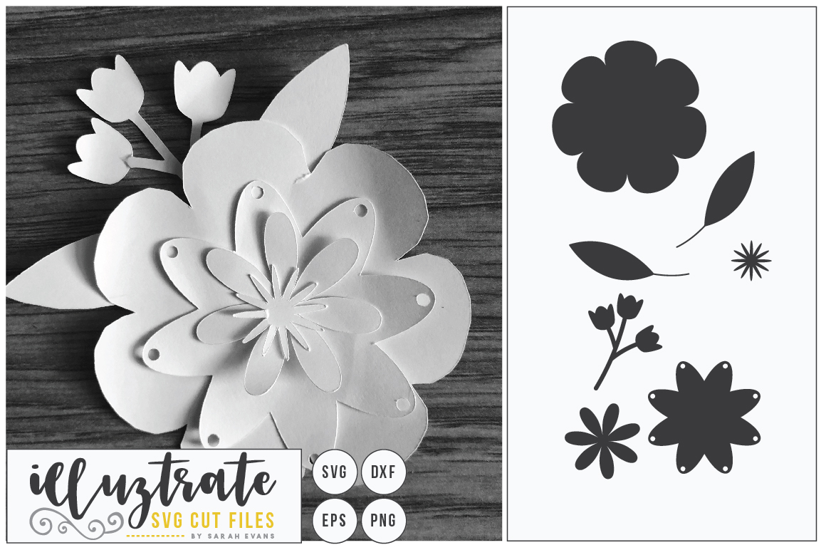 Paper Flower Template Bundle | Paper Cutting Bundle SVG example image 9