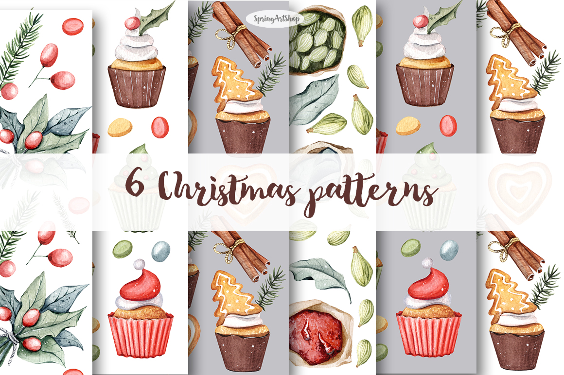 Christmas Food Watercolor Clipart