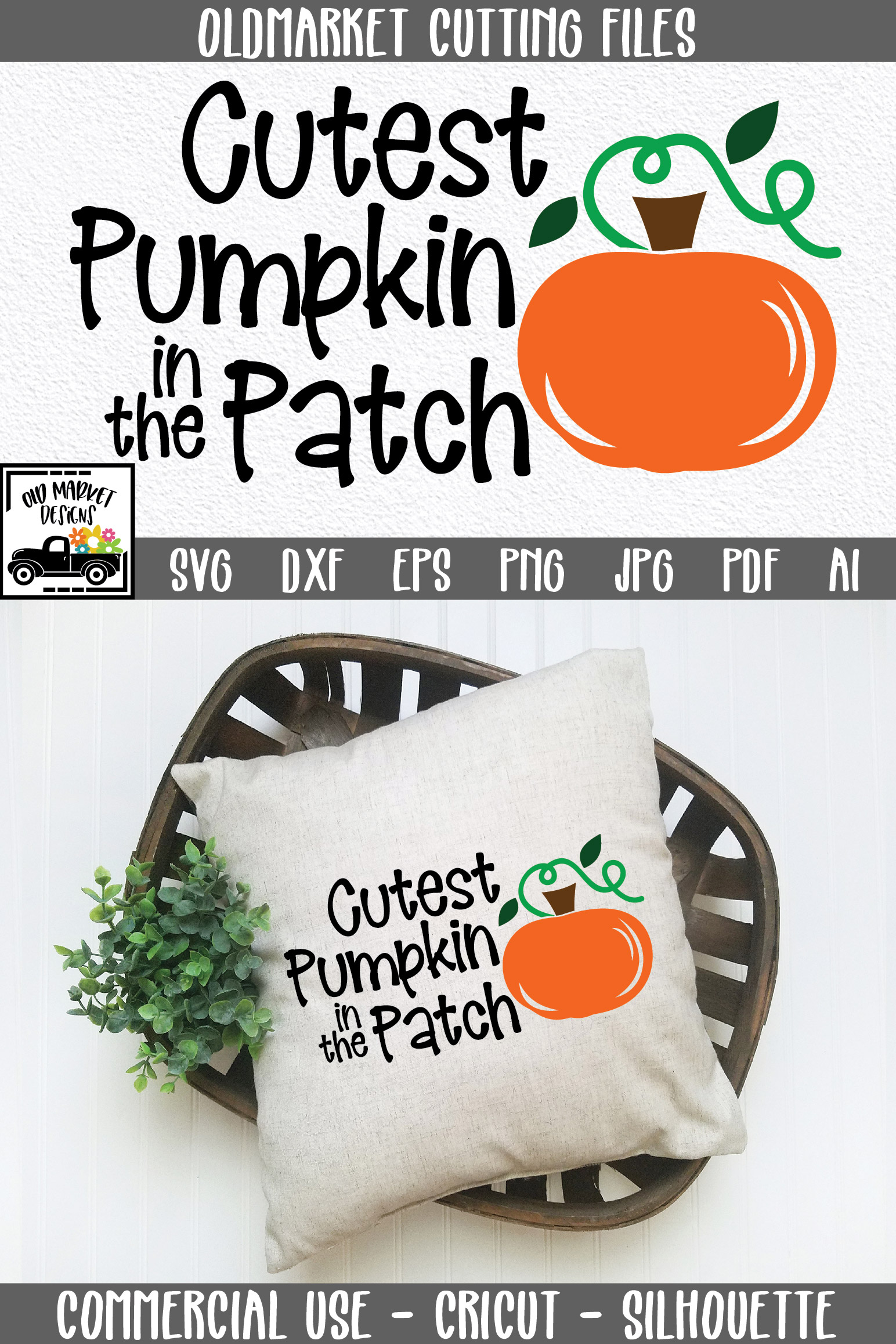 Cutest Pumpkin in the Patch SVG Cut File - Fall Pumpkin SVG example image 7