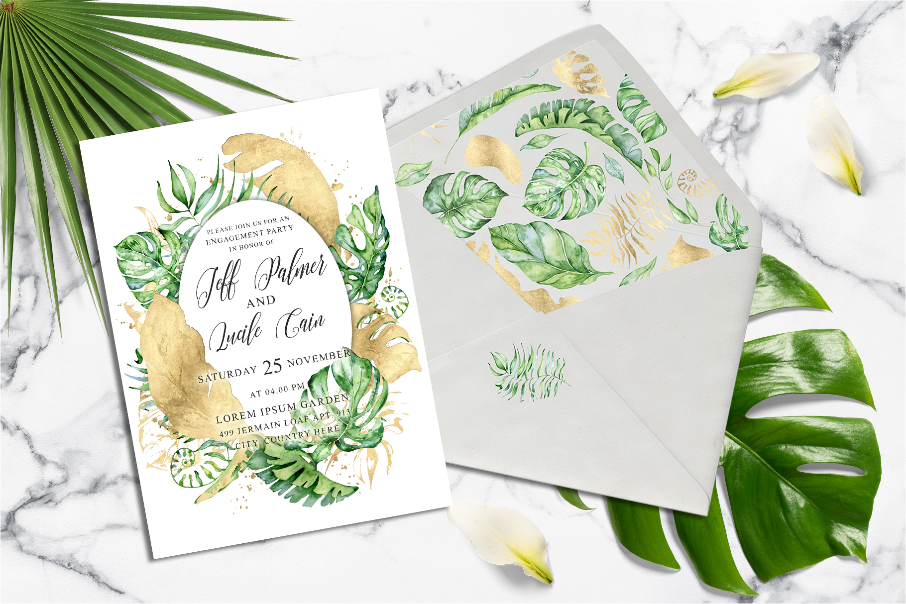 Tropical gold wedding invitation suit example image 2