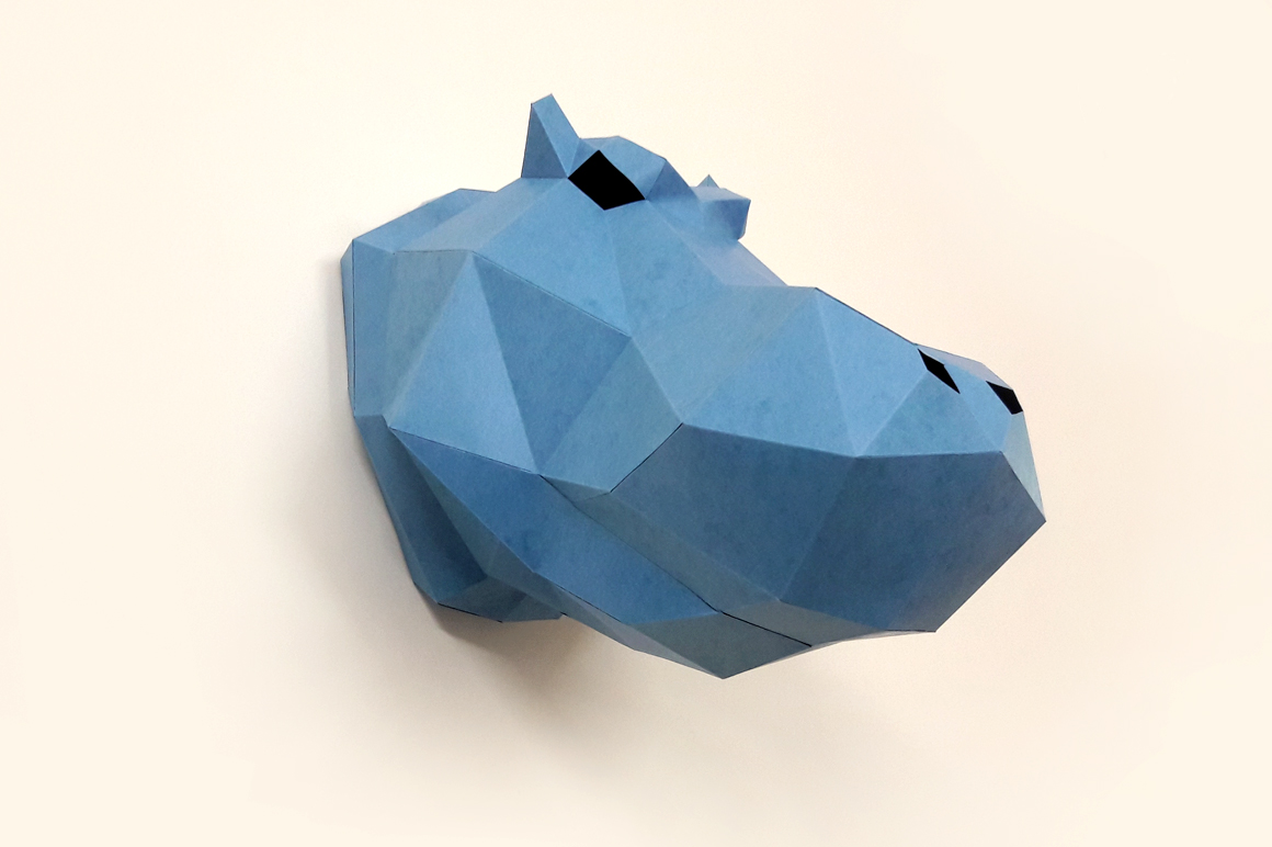DIY Hippo head Trophy - 3d papercraft example image 2