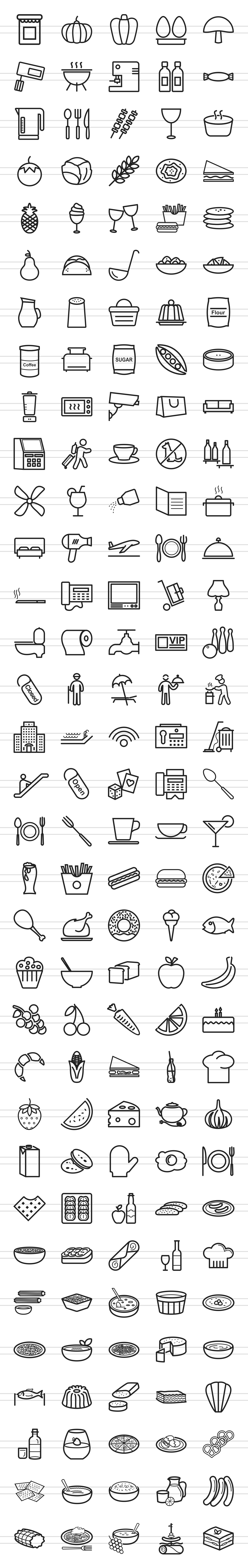166 Restaurant & Food Line Icons example image 3