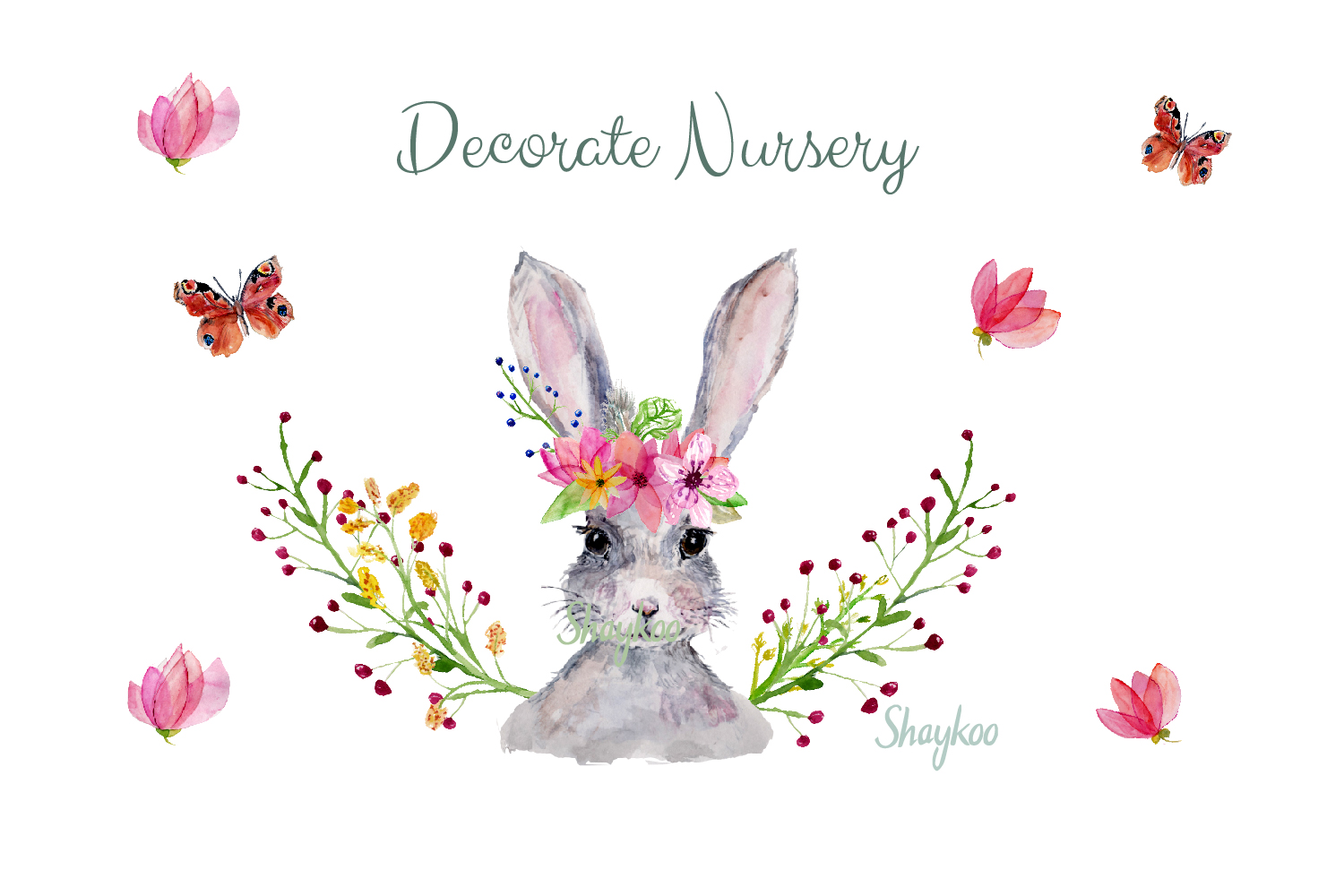 Bunny Watercolor Clipart, Handpainted, Boho, Nursery Bunnies example image 5
