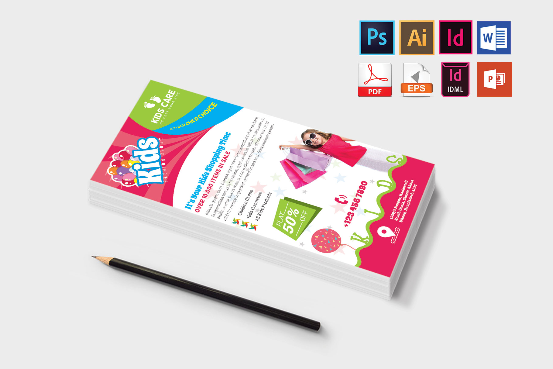 Rack Card | Kids Fashion DL Flyer Vol-01 example image 3