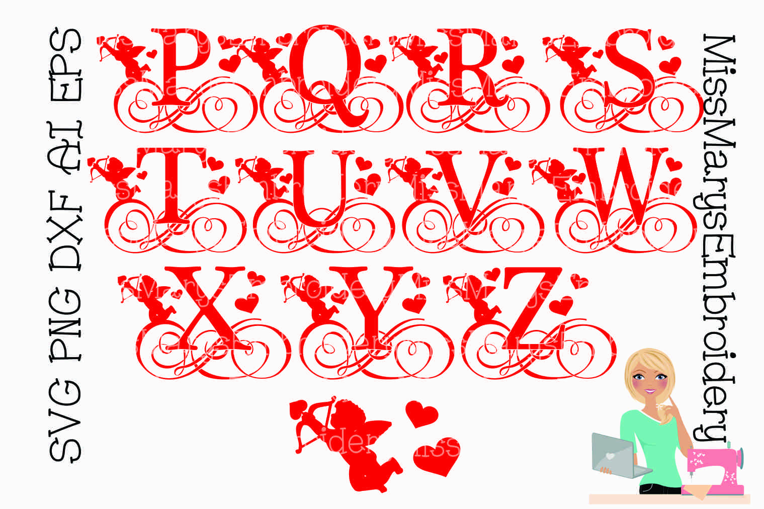 Cupid Swirl Letters SVG Cutting File PNG DXF AI EPS example image 3