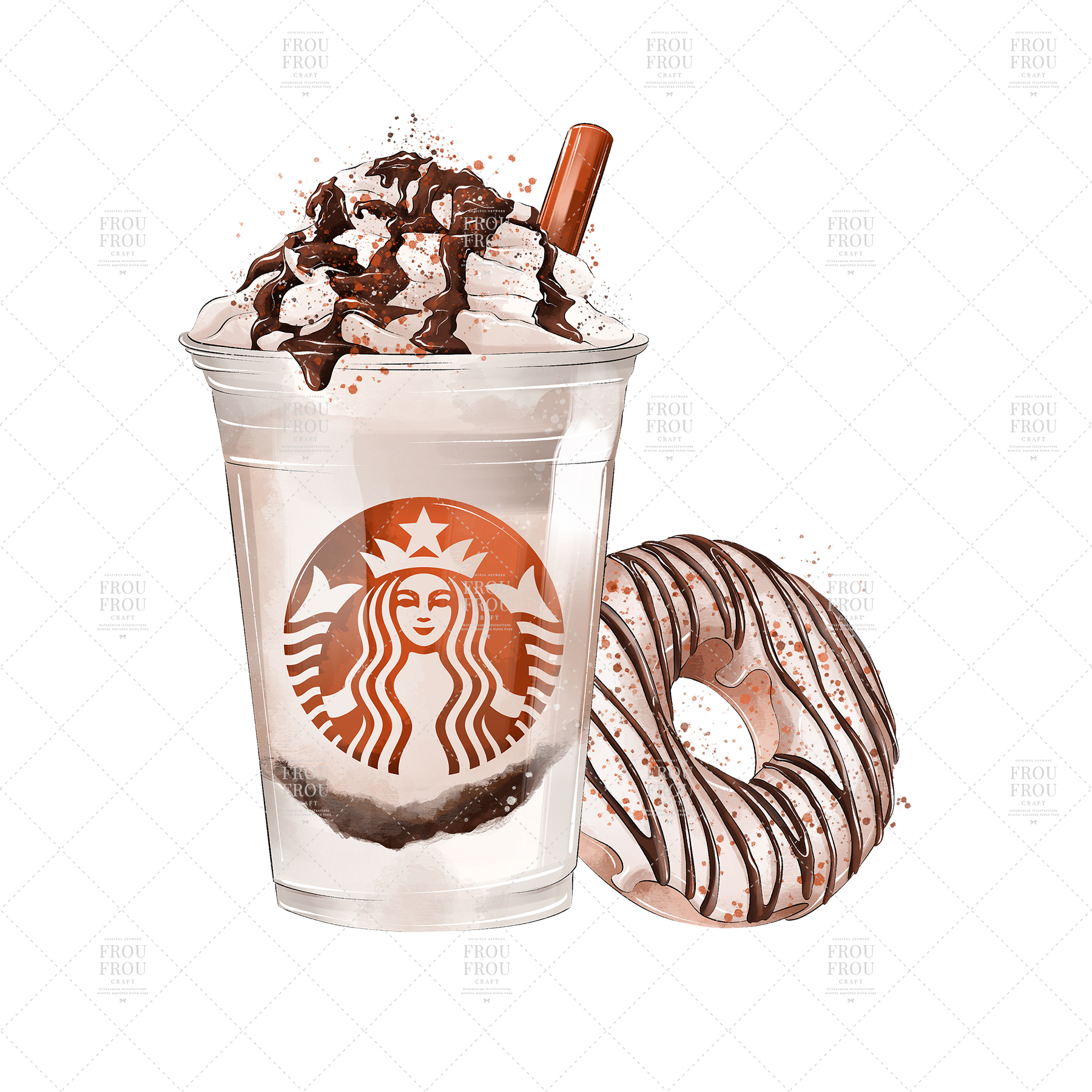 Coffee Lover Milkshake Donut Fall Autumn Clip Art example image 3