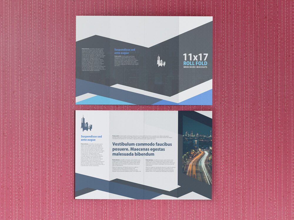 11x17 Four Panel Roll Fold Brochure Mockup example image 9