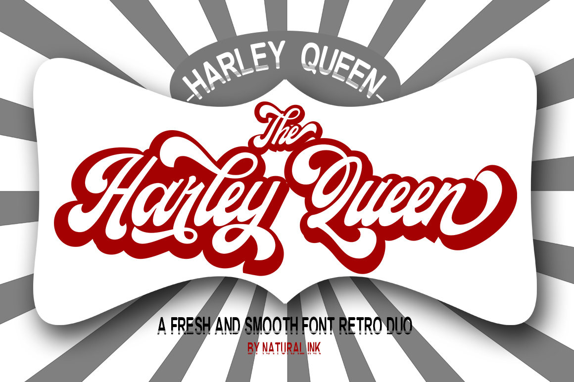 Harley Queen-Retro Font duo and Extrude example image 1