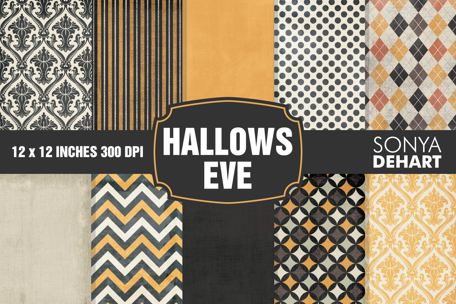 Halloween Hallows Eve Digital Paper Pattern Pack example image 1