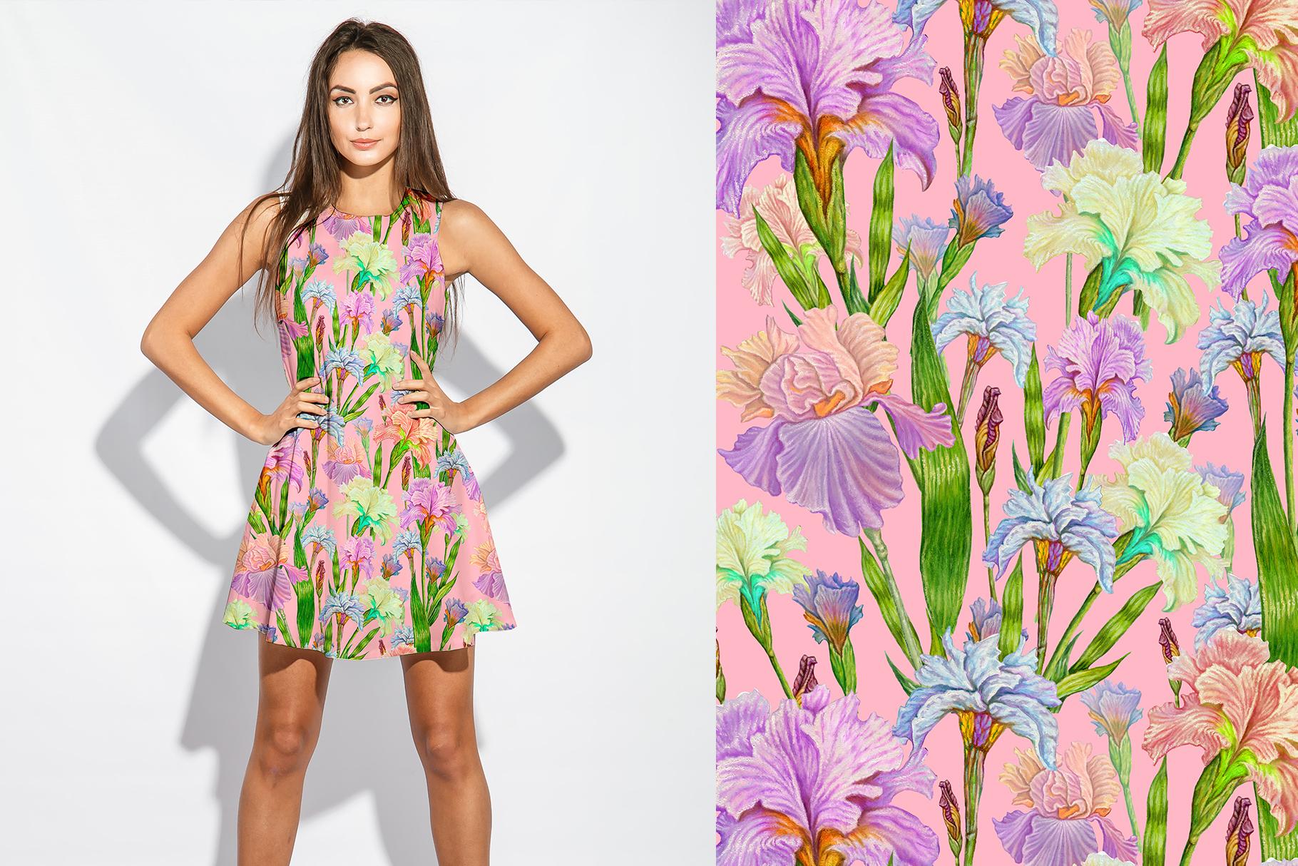 Iris digital paper. seamless pattern.Floral digital paper. example image 9