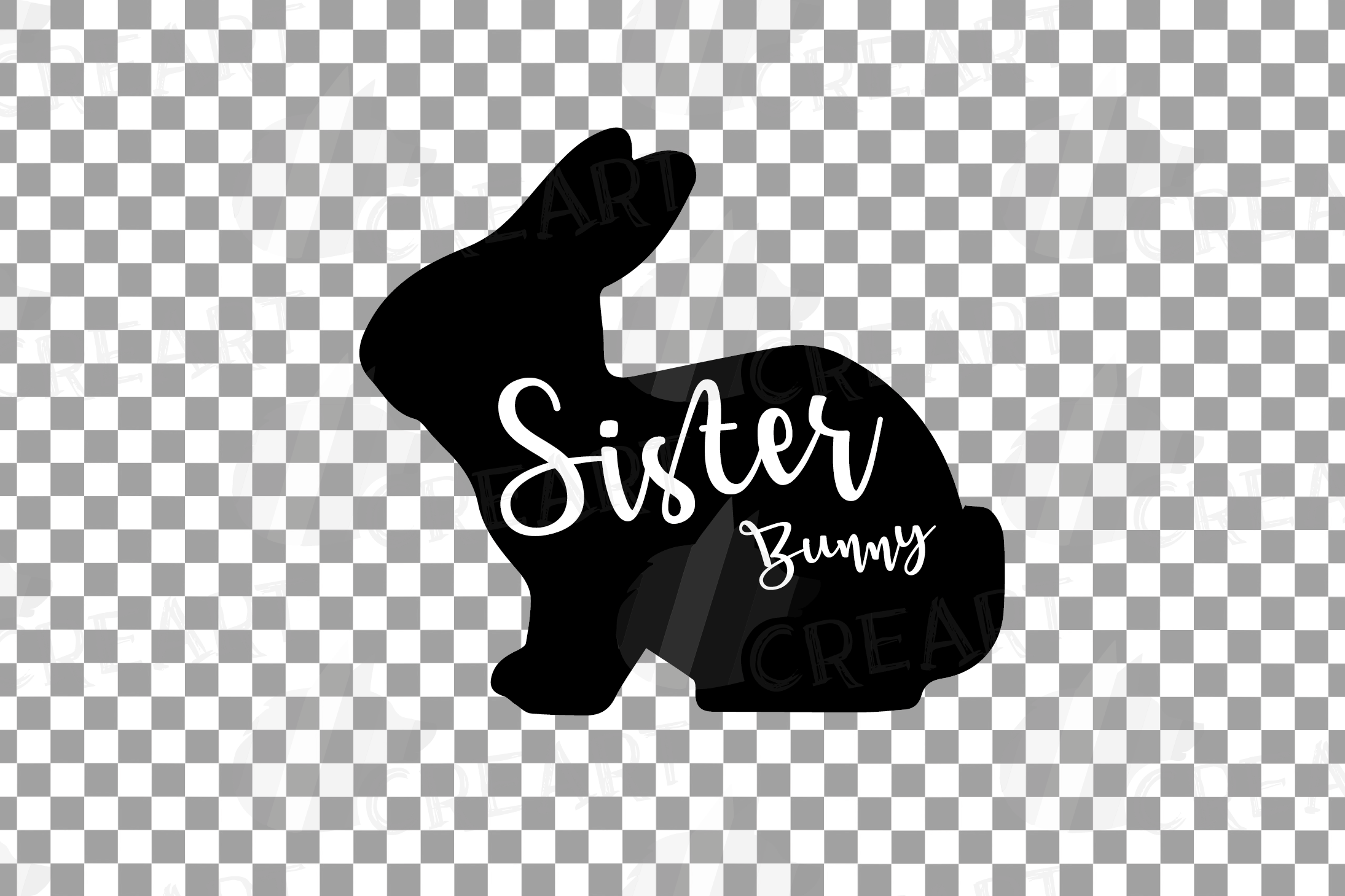 Rabbit family silhouettes, bunny silhouette svg cutting file example image 16