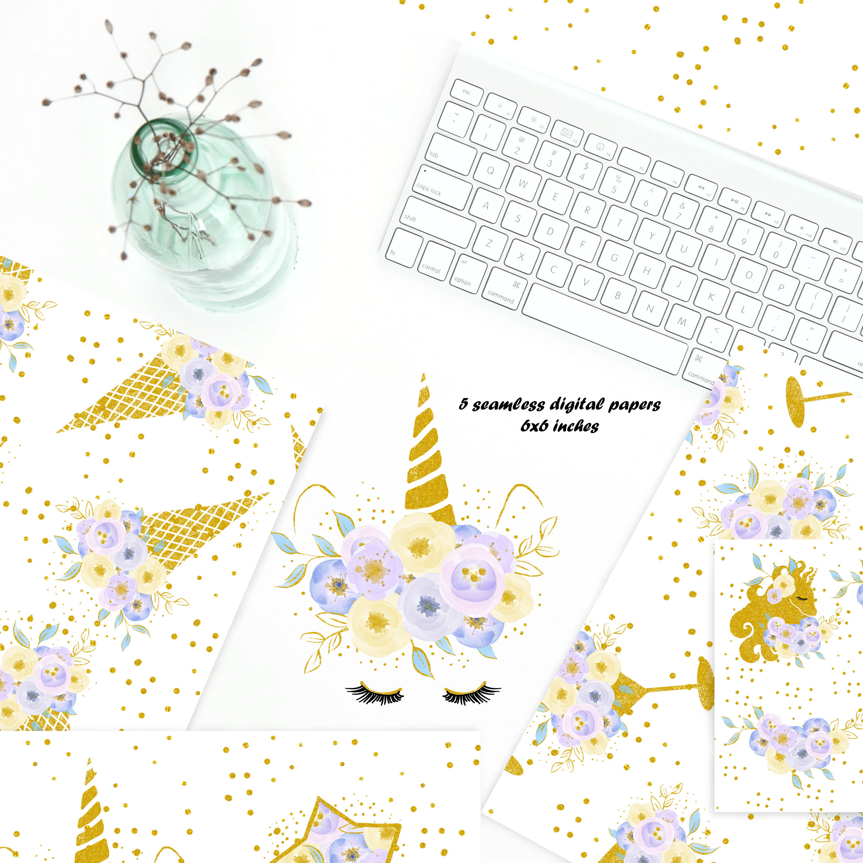 Unicorn clip art, flowers with gold example image 2