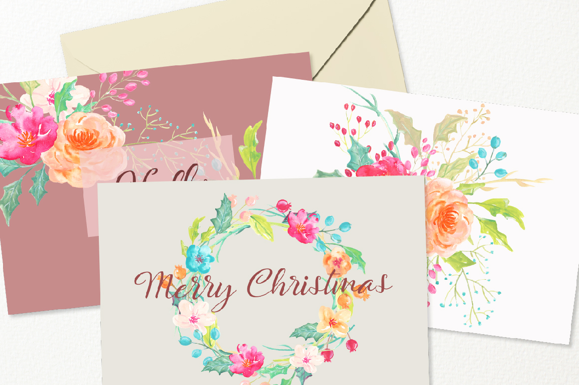 Merry Christmas Watercolor Collection example image 7