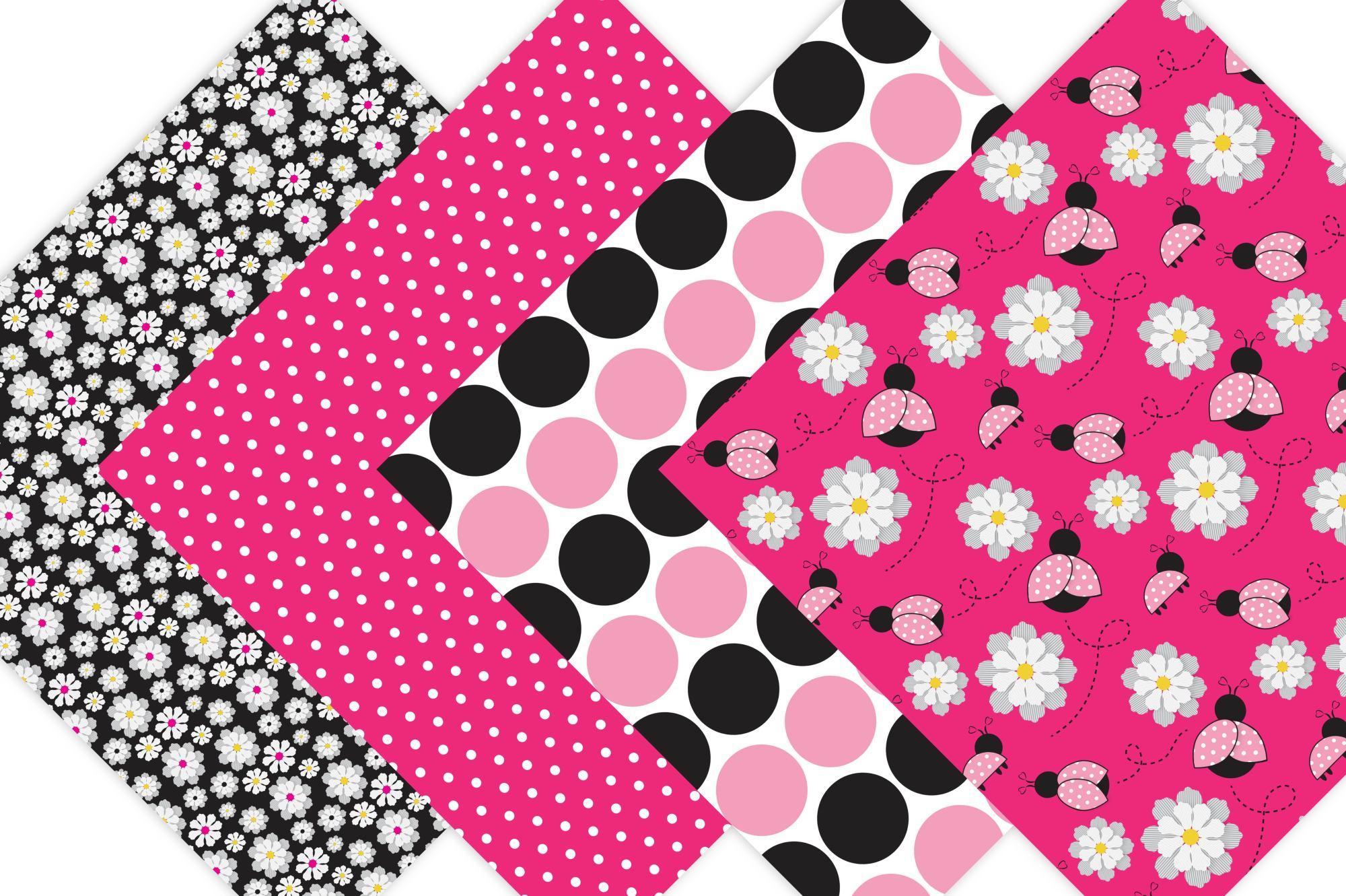 Pink Ladybug Digital Paper  example image 4